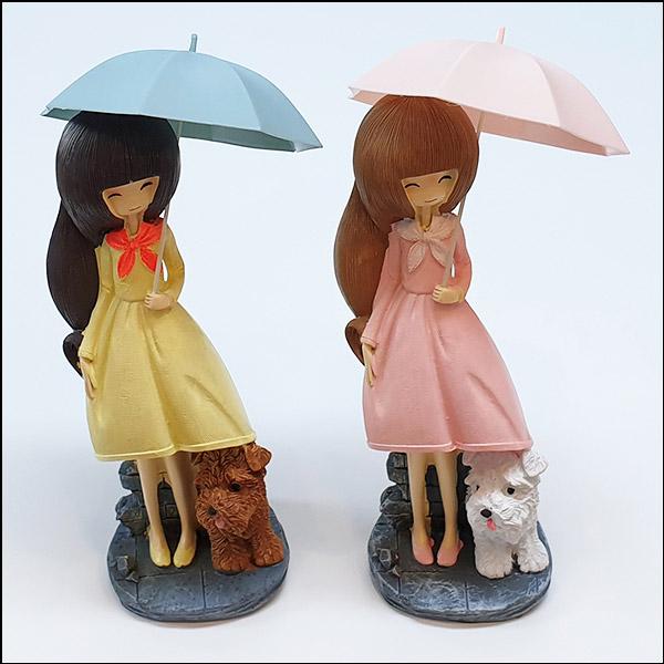 [척척박사네2643] 우산 쓴 소녀와 푸들(분홍 우산/파란 우산)