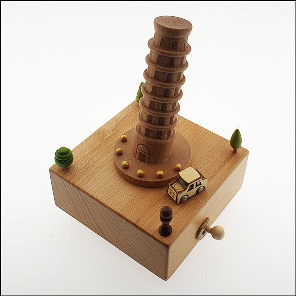 [척척박사네2731] 고급 원목 오르골-피사의 탑과 회전 자동차