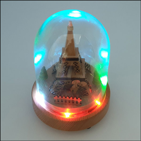 [척척박사네2738] 고급 원목 LED 회전 오르골-에펠탑과 연인