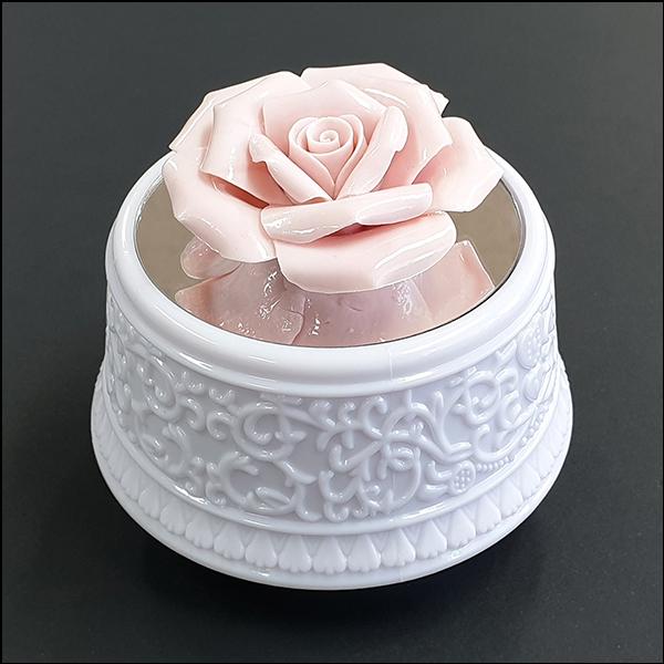 [척척박사네2771] LED 회전 오르골-도자기 분홍 장미