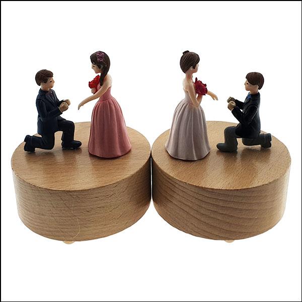[척척박사네2839] 고급 원목 원형 오르골-청혼 결혼해주오