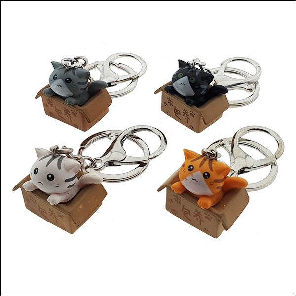 [척척박사네2653] 박스 안의 고양이 열쇠고리(키홀더)