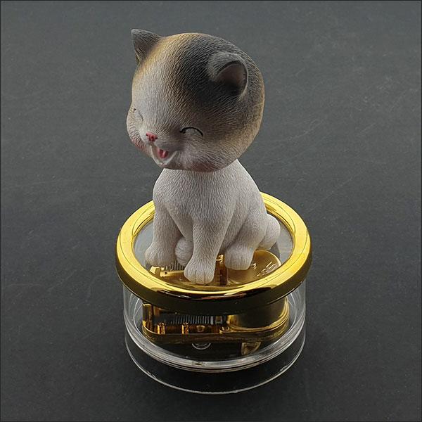 [척척박사네2963] 고급 원형 오르골(스마일 고양이)-5곡 중 선택