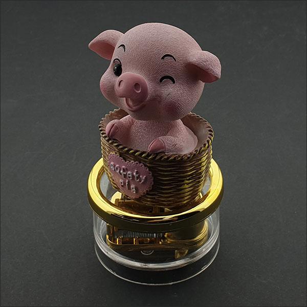 [척척박사네2964] 고급 원형 오르골(바구니 속 아기돼지)-5곡 중 선택